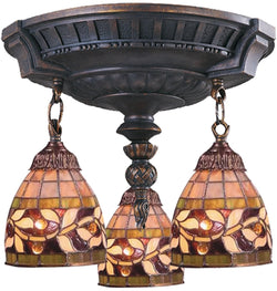 Elk Lighting Mix-N-Match Tiffany 3-Light Semi Flush Aged Walnut 997AW13