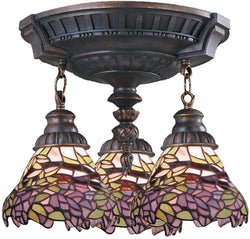 Elk Lighting Mix-N-Match Tiffany 3-Light Semi Flush Aged Walnut 997AW28