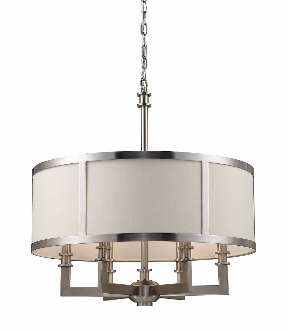 "22""W Seven Springs 6-Light Drum Chandelier Satin Nickel with White Glass"