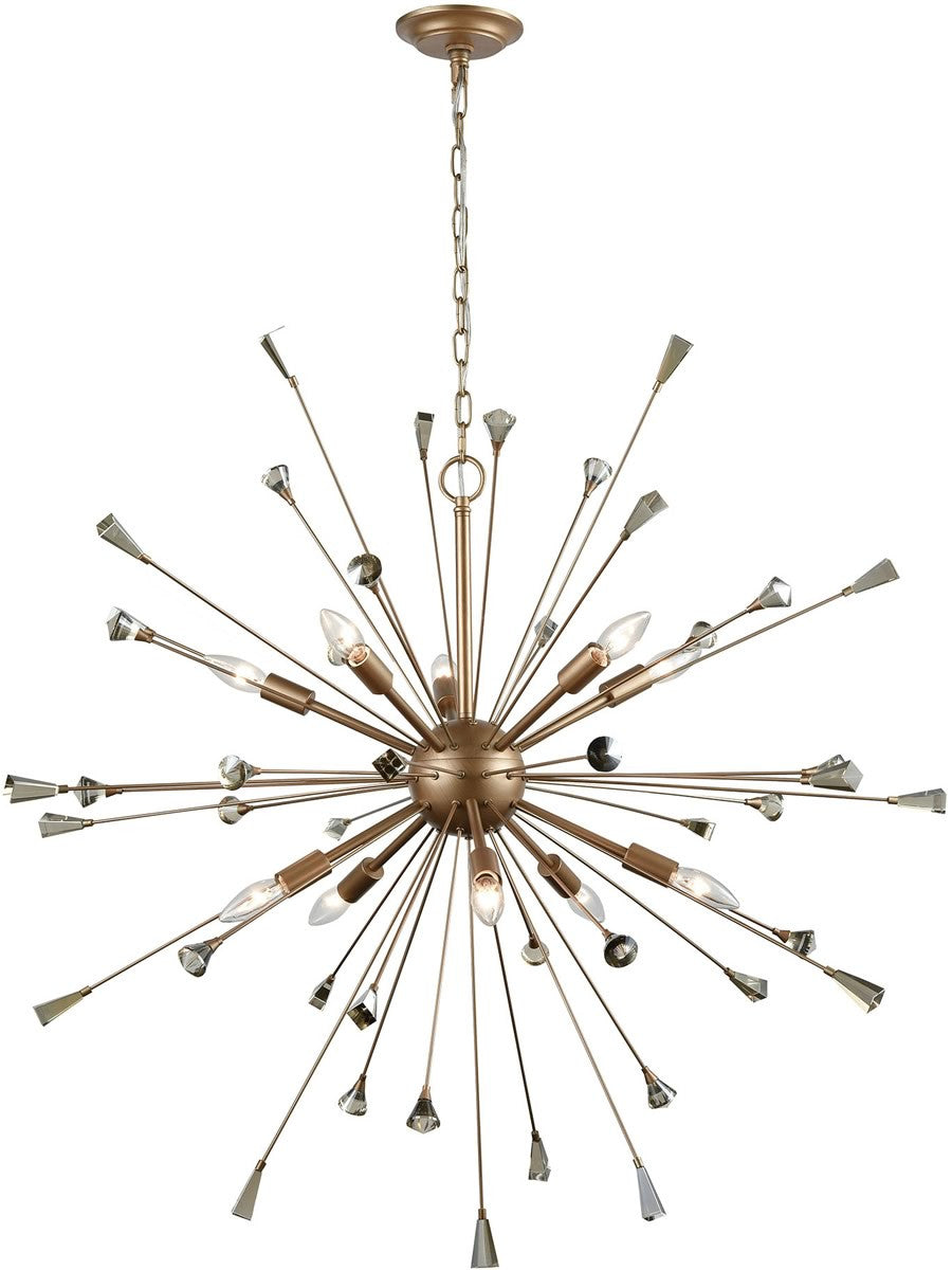 "38""W Sprigny 10-Light Chandelier Matte Gold/Amber Teak Crystal"