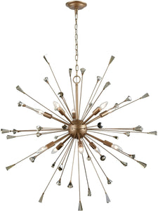 Elk Lighting Sprigny 10-Light Chandelier Matte Gold/Amber Teak Crystal 3302110