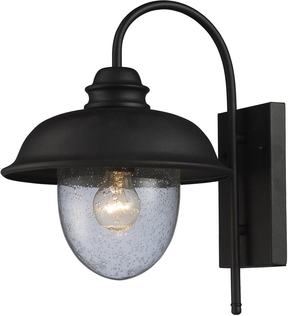 "15""H Streetside Cafe 1-Light Outdoor Wall Sconce Matte Black with Transparent Glass"