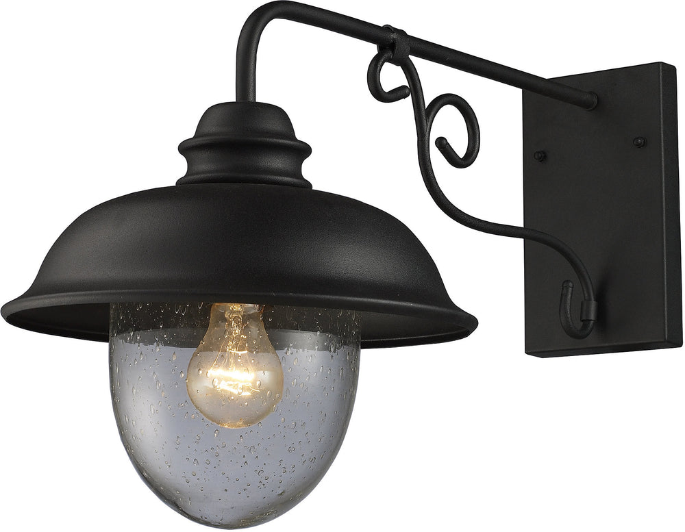 "14""H Streetside Cafe 1-Light Outdoor Wall Sconce Matte Black with Transparent Glass"