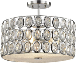Tessa 3-Light Semi Flush Polished Chrome/Clear Crystal