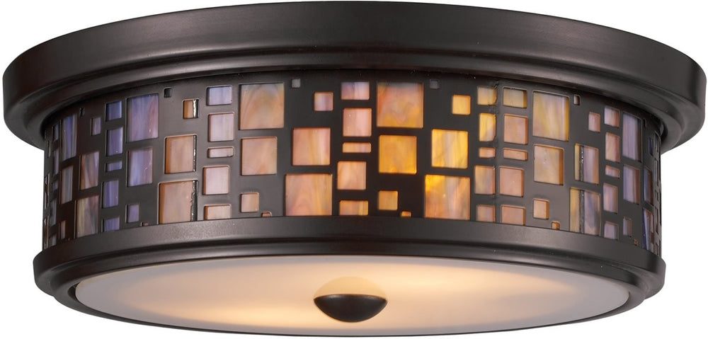"13""W Tiffany 2-Light Flush Mount Oiled Bronze"