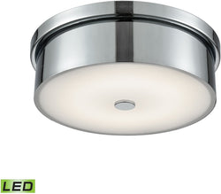 Towne Round LED Flushmount Chrome/Opal Glass - Small