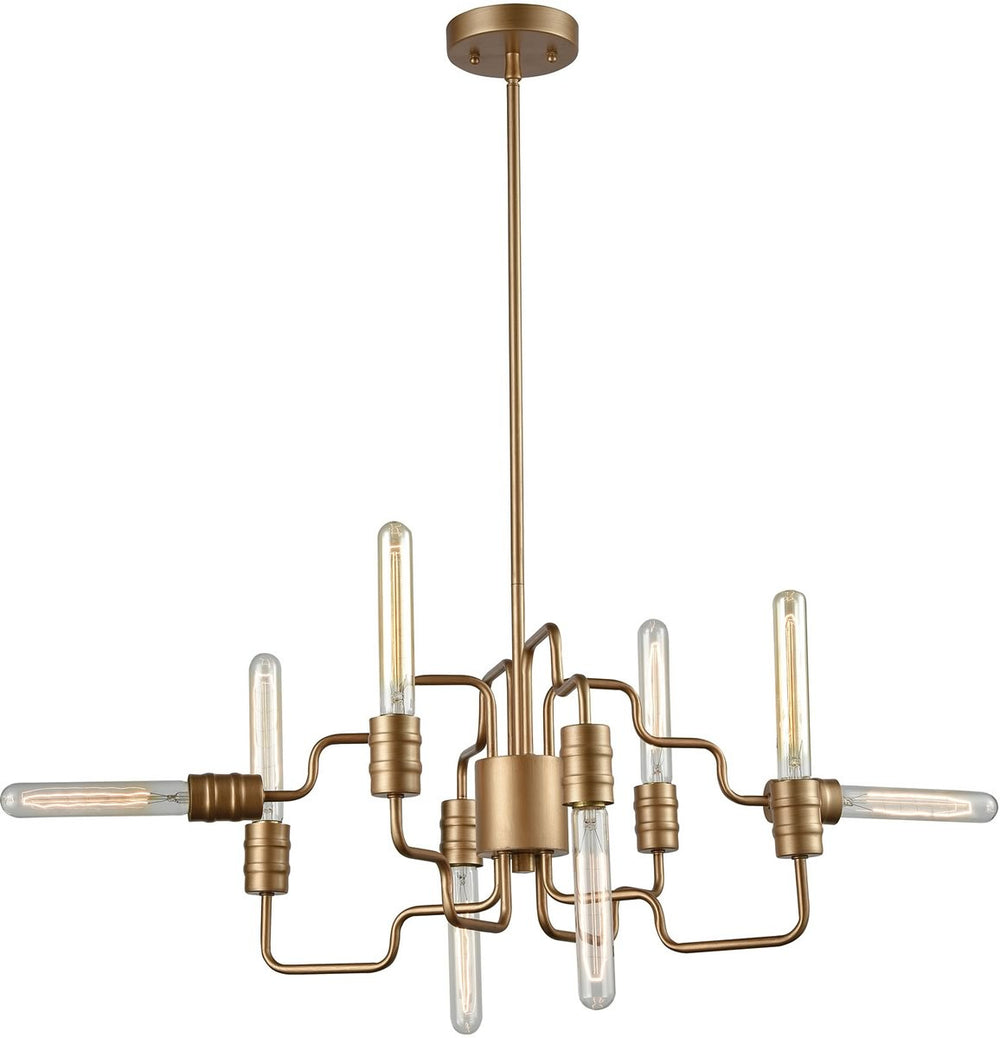 "24""W Transit 8-Light Chandelier Matte Gold"