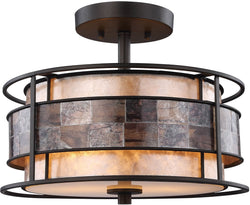 Tremont 2-Light Semi Flush Tiffany Bronze/Tan/Brown Mica