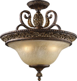 "19""w Regency 3-Light Semi-Flush Mount Burnt Bronze"