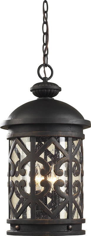 "10""w Tuscany Coast 3-Light Outdoor Pendant Weathered Charcoal/Clear Seeded"