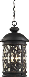 Elk Lighting Tuscany Coast 3-Light Outdoor Pendant Weathered Charcoal/Clear Seeded 420633