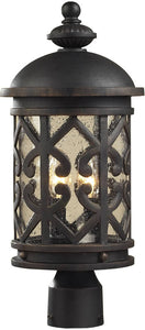 Elk Lighting Tuscany Coast 2-Light Outdoor Post Lantern Weathered Charcoal/Clear Seeded 420642