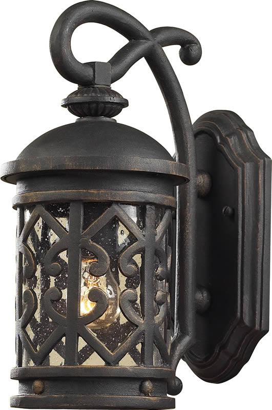 "14""H Tuscany Coast 1-Light Outdoor Wall Lantern Weathered Charcoal/Clear Seeded"