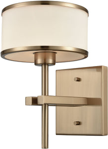 Utica 1-Light Vanity Satin Brass/Opal White Glass