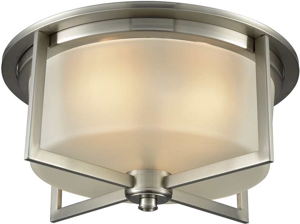 "15""W Vancourt 3-Light Flush Satin Nickel/Frosted Glass"