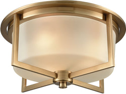 Elk Lighting Vancourt 3-Light Flush Satin Brass/Frosted Glass 159993