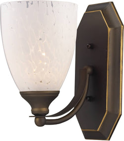 "5""w Vanity 1-Light Bathroom Vanity Aged Bronze/Snow White"