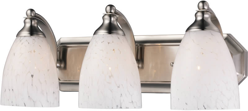 "20""w Vanity 3-Light Bathroom Vanity Satin Nickel/Snow White"