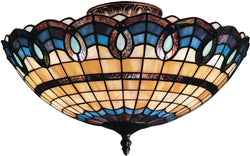 Elk Lighting Victorian Ribbon Tiffany 3-Light Semi Flush Classic Bronze 936CB