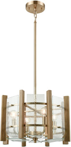 Vindalia 4-Light Chandelier Satin Brass/Wood Slats/Curved Glass
