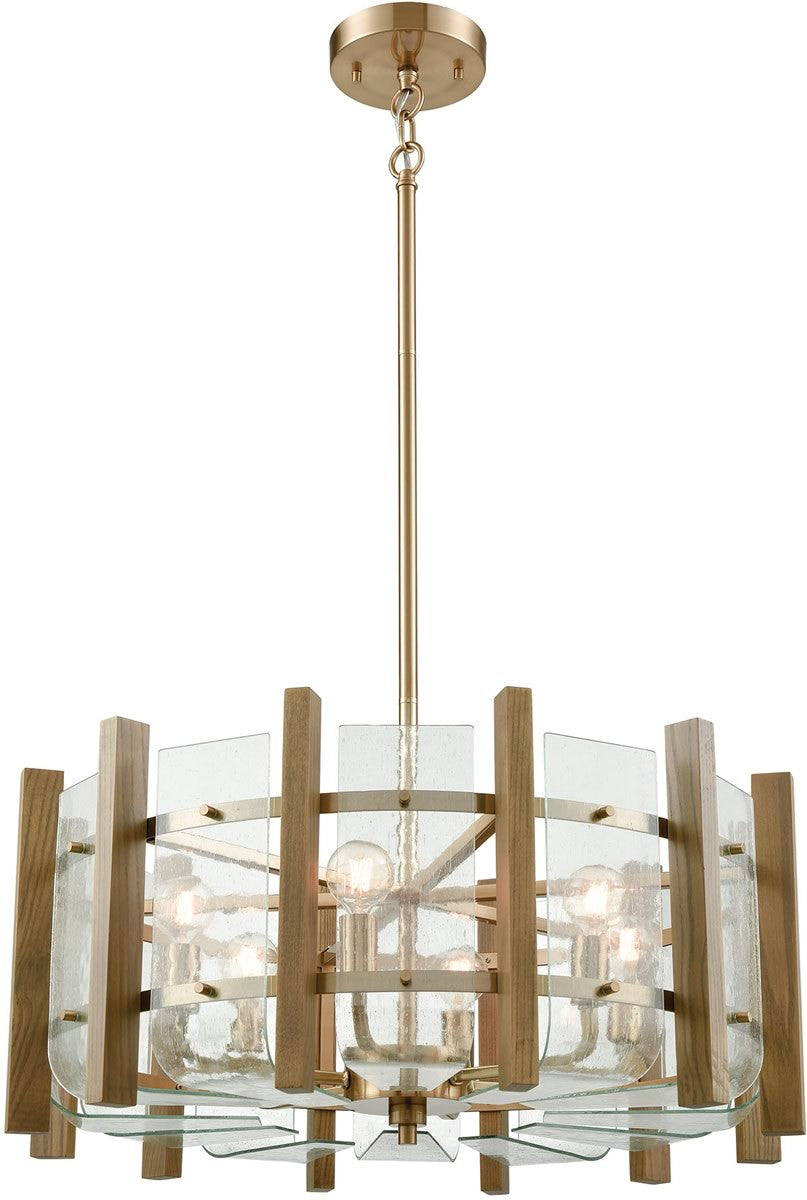 "24""W Vindalia 6-Light Chandelier Satin Brass/Wood Slats/Curved Glass"