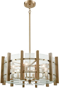 Elk Lighting Vindalia 6-Light Chandelier Satin Brass/Wood Slats/Curved Glass 323346