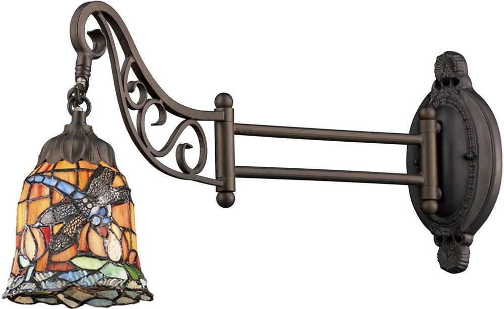 "7""W Mix-N-Match 1-Light Swing Arm Sconce Tiffany Bronze"