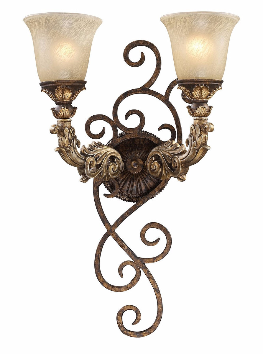 "6""w Regency 2-Light Wall Sconce Burnt Bronze with Translucent Glass"