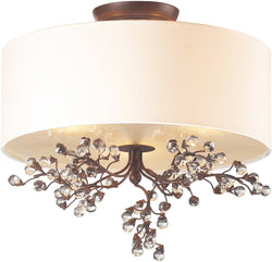 Winterberry 3-Light Semi Flush Antique Darkwood