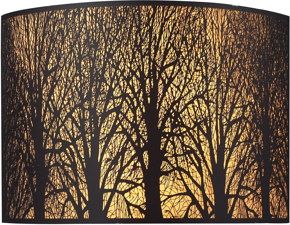 "11""W Woodland Sunrise 2-Light Wall Sconce Aged Bronze with Cream Glass"