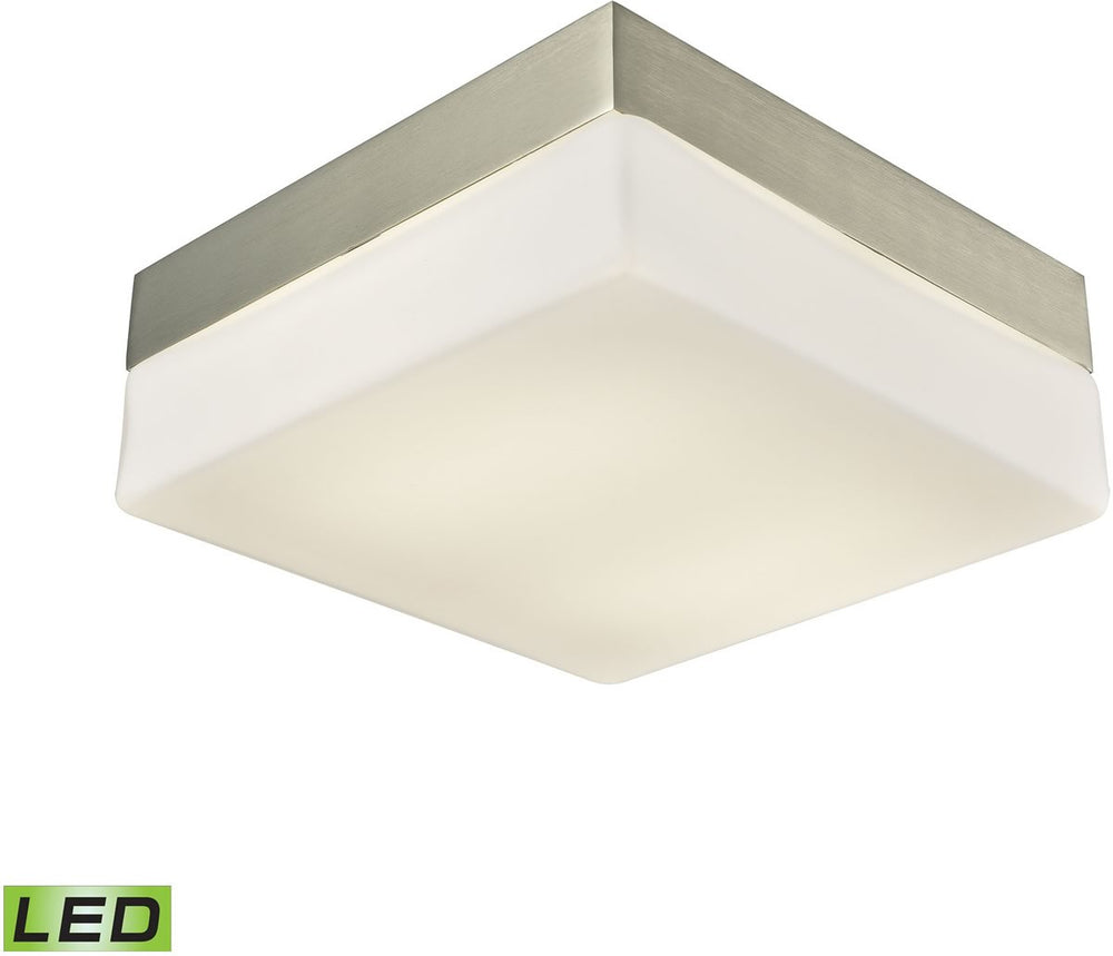 Wyngate 2-Light Square LED Flushmount Satin Nickel/Opal Glass - Medium