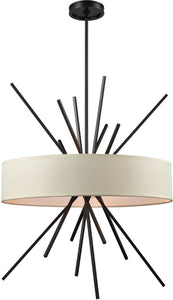 Xenia 5-Light Chandelier Oil Rubbed Bronze/Beige Fabric Shade