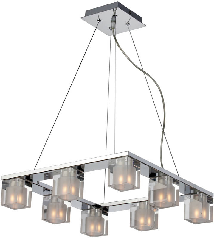 "17""w Blocs 8-Light Pendant Polished Chrome"