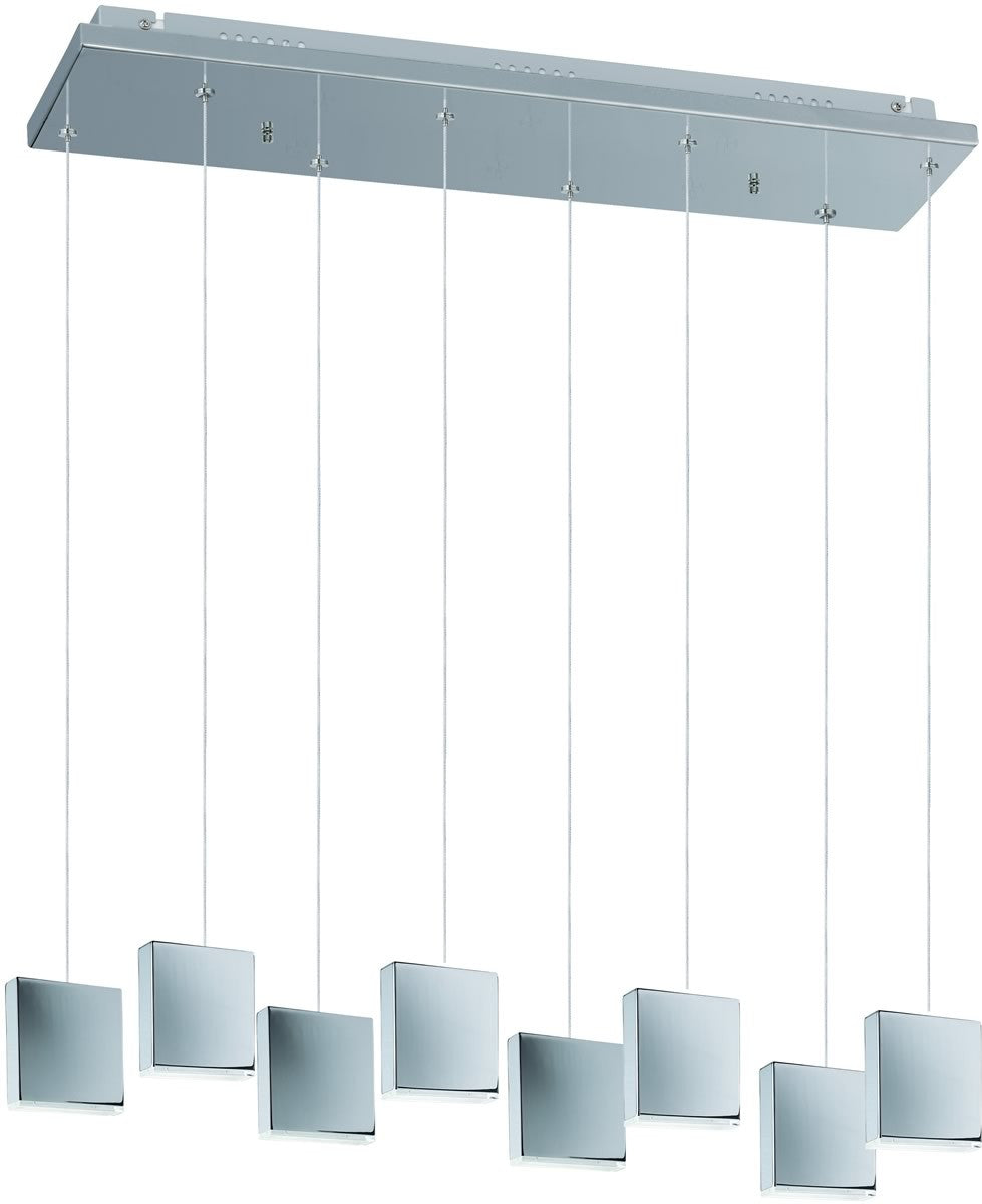 "39""w Brick 8-Light LED Pendant Polished Chrome"