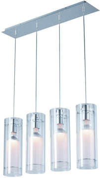 "30""W Frost Halogen 4-Light Pendant Polished Chrome"
