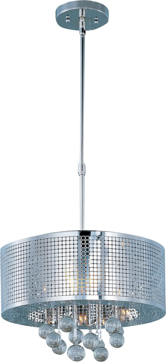 "16""w Illusion Xenon 5-Light Single Pendant Polished Chrome"