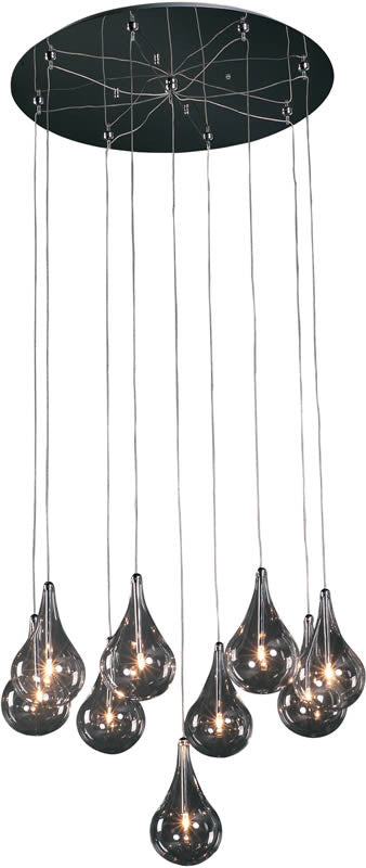 "22""w Larmes 9-Light Pendant Polished Chrome"