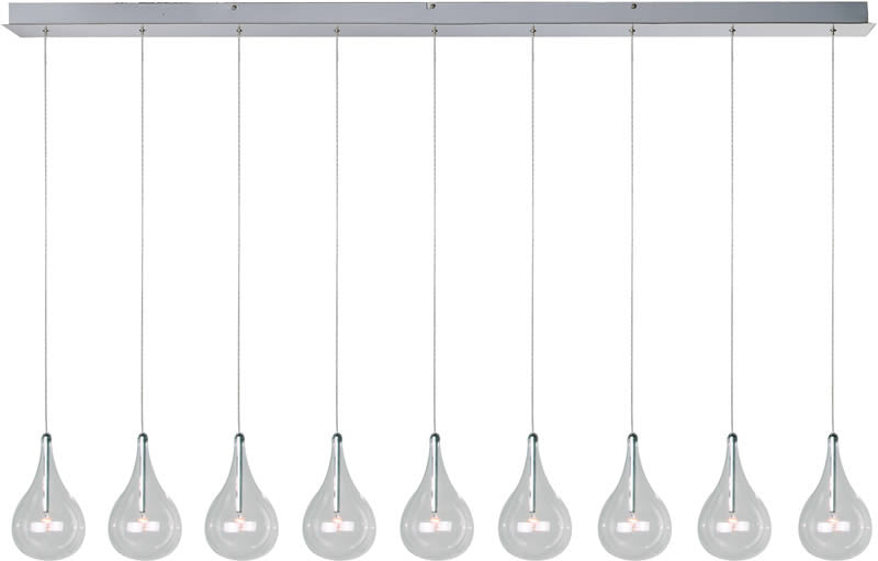 "56""w Larmes 9-Light Pendant Polished Chrome"