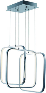 Squared LED Pendant Polished Chrome