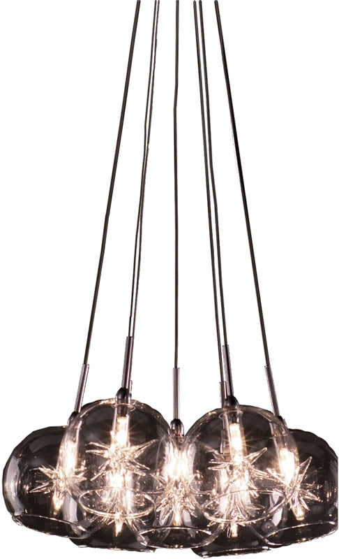 "12""w Starburst 7-Light Pendant Satin Nickel"