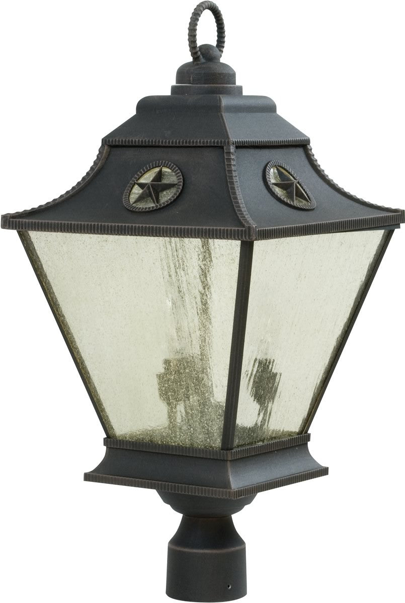 "24""H Chaparral 3-Light Outdoor Post Rust"