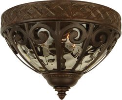 "14""w Olivier 2-Light Outdoor Flush Aged Bronze"