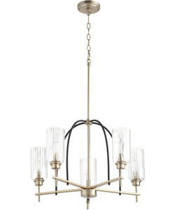 Espy 5-light Chandelier Noir w/ Aged Brass