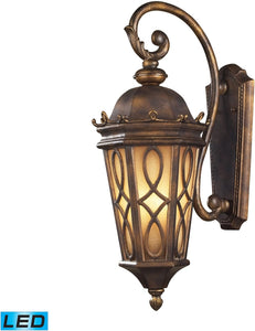 Burlington Junction 3-Light Outdoor LED Wall Sconce Hazlenut Bronze/ Amber Scavo Glass