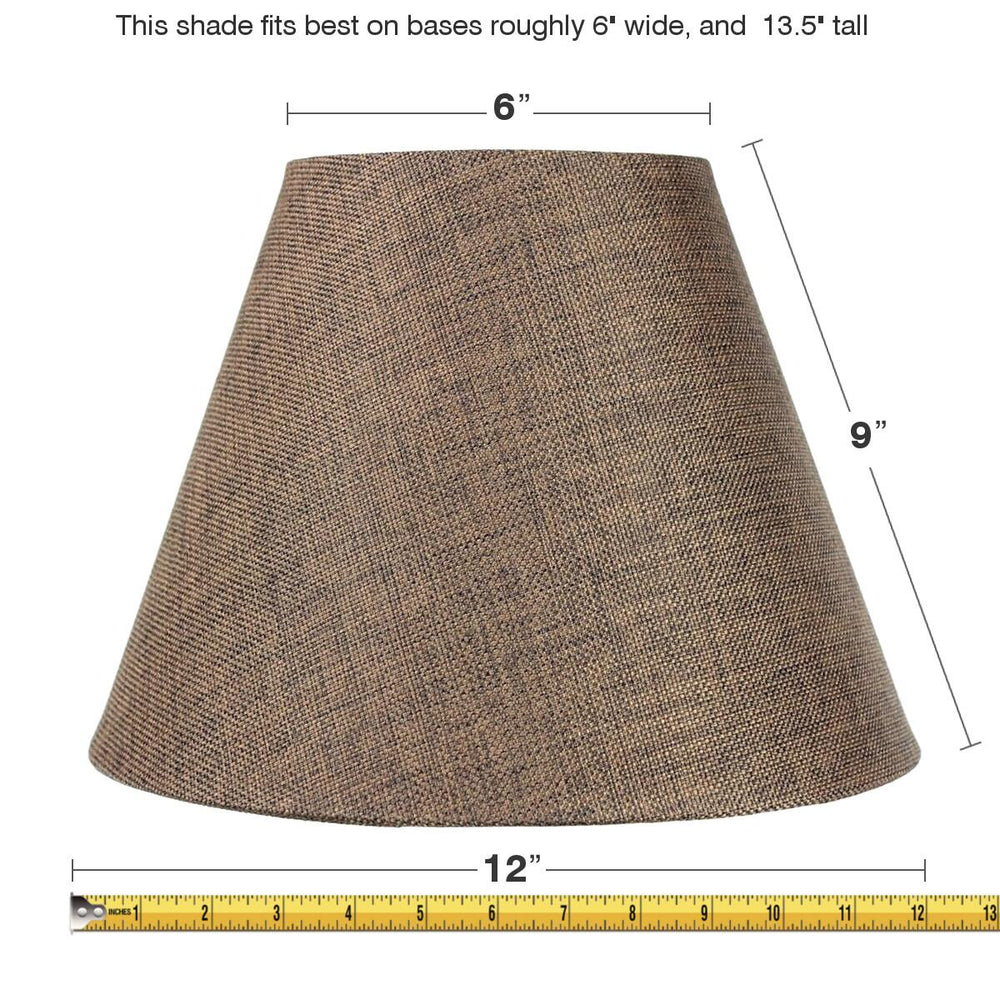 "12""W x 9""H SLIP UNO FITTER Hard Back Empire Lamp Shade - Chocolate Burlap"