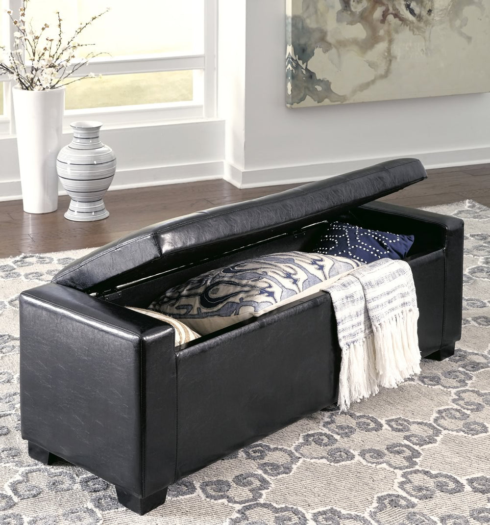 "18""H Benches Upholstered Storage Bench Black"