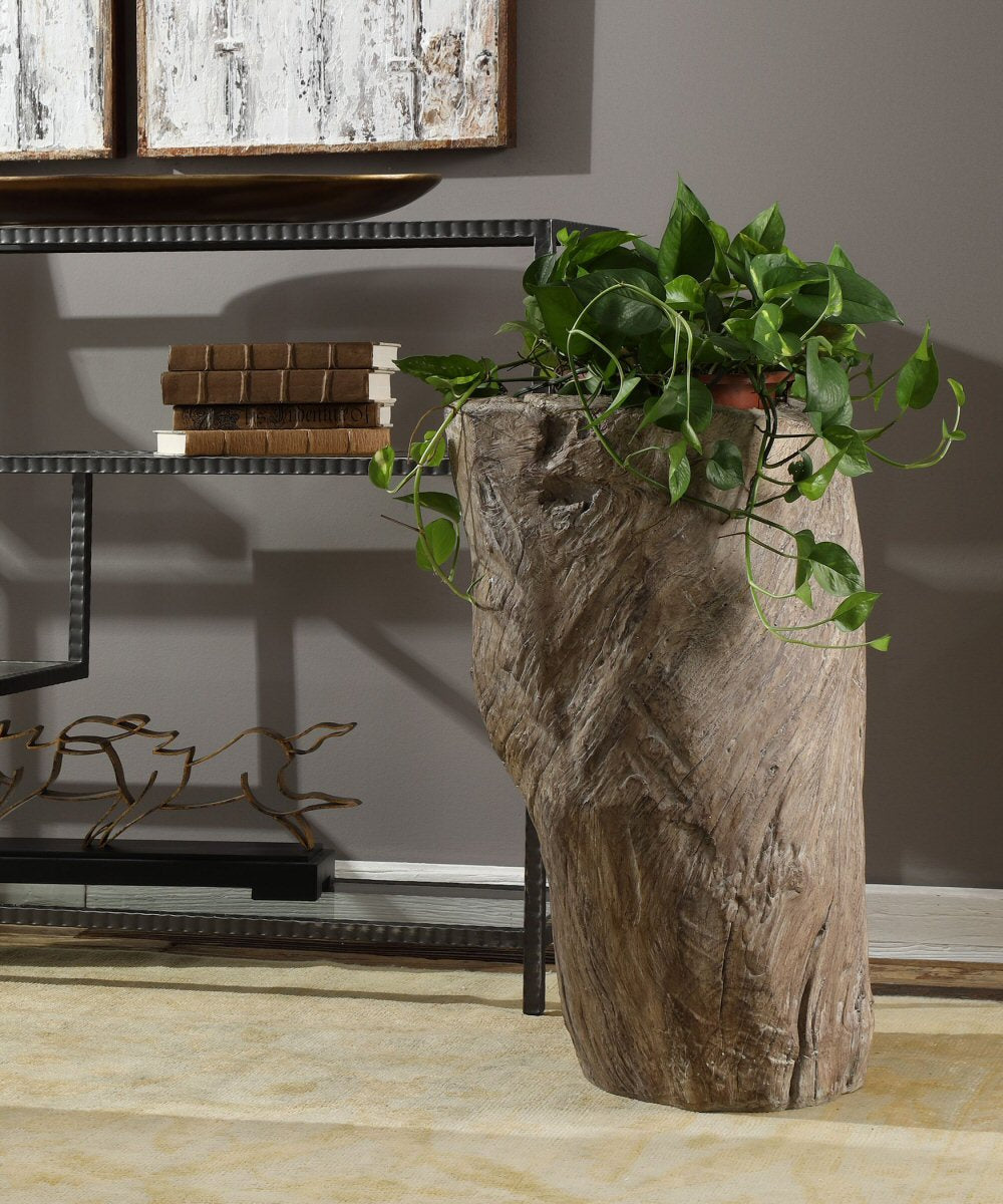 "27""H Willow Tree Stump Planter"
