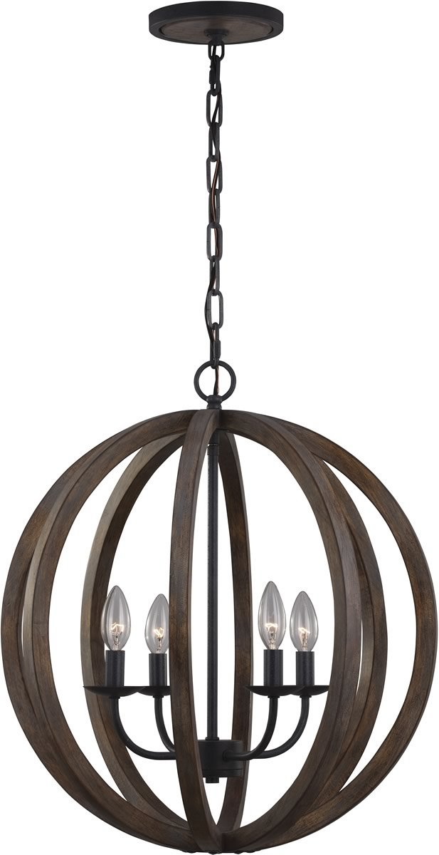 "21""W Allier 4-Light Pendant Weather Oak Wood / Antique Forged Iron"