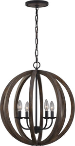 0-028644>Allier 4-Light Pendant Weather Oak Wood / Antique Forged Iron