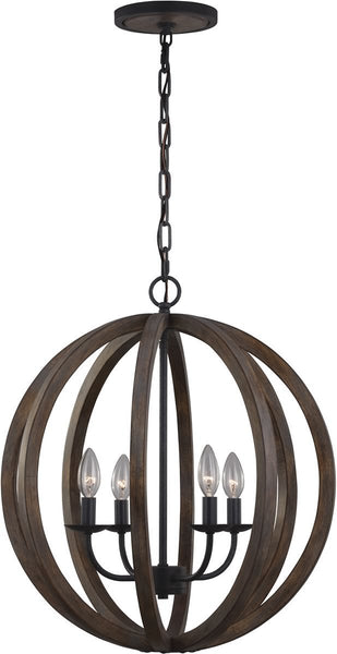Allier 4-Light Pendant Weather Oak Wood / Antique Forged Iron
